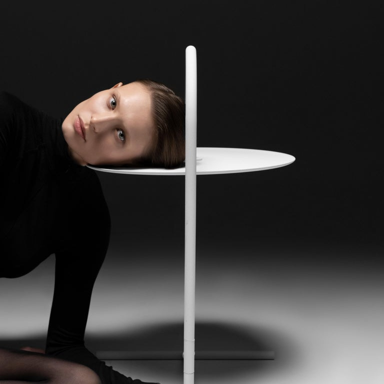 Powder-Coated MELT, minimalistic white steel side coffee TABLE by oitoproducts For Sale