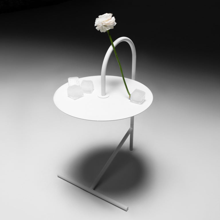 MELT, minimalistic white steel side coffee TABLE by oitoproducts In New Condition For Sale In Kyiv, UA