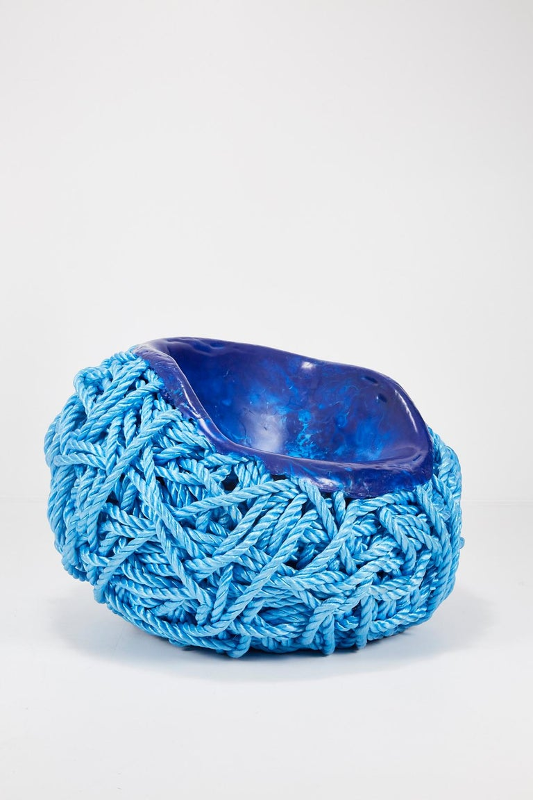 Meltdown Chair PP Rope Blue Chair by Tom Price, 2017 In Good Condition For Sale In Los Angeles, CA