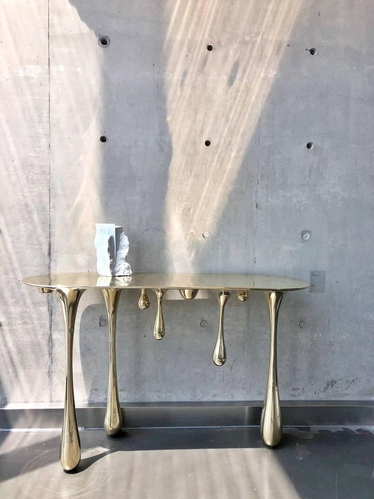 Melting Brass Console Table or Hallway Table by Zhipeng Tan 3