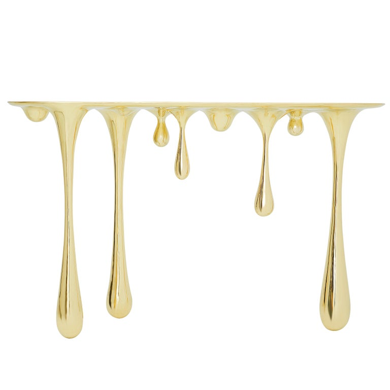 Melting Brass Console Table or Hallway Table by Zhipeng Tan 1
