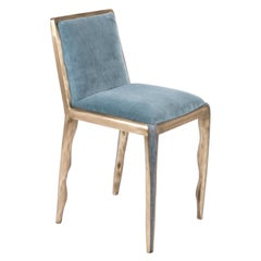 Melting Chair in Blue Shagreen and Bronze-Patina Brass by R&Y Augousti