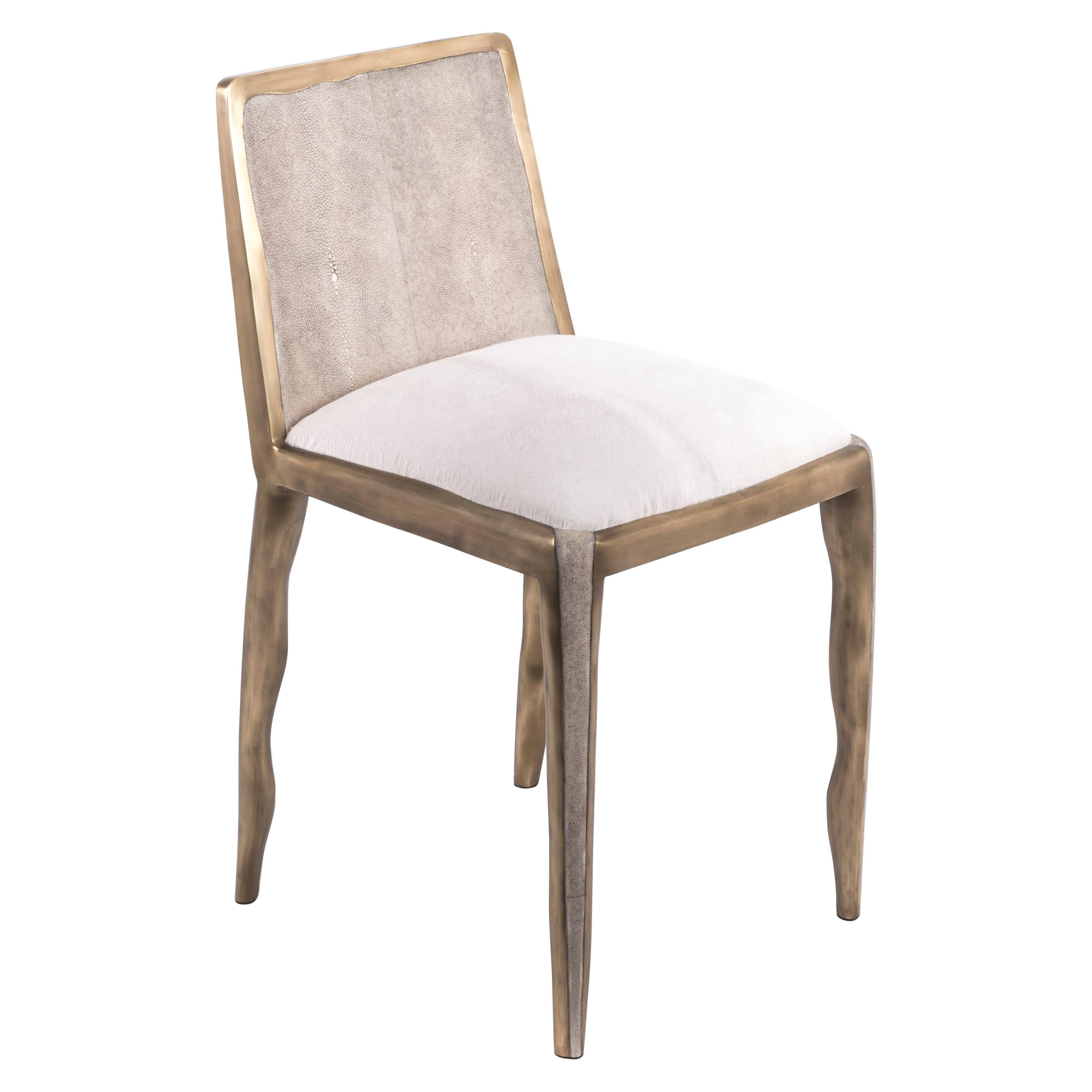 Melting Chair in Cream Shagreen and Bronze-Patina Brass by R&Y Augousti
