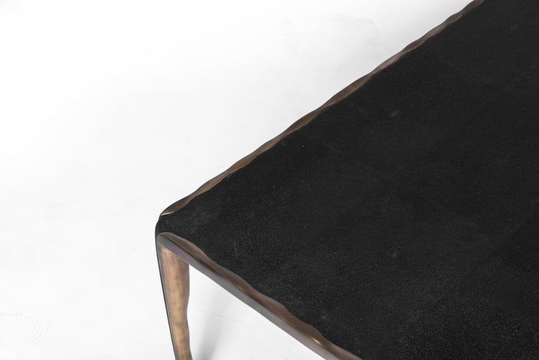 Art Deco Melting Coffee Table Black Shagreen and Bronze Patina Brass by R&Y Augousti For Sale