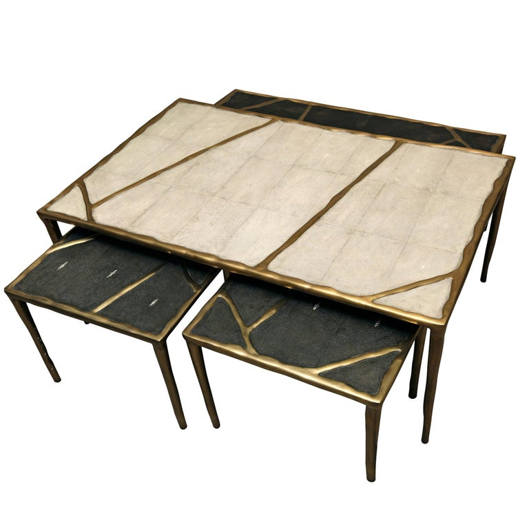 French Melting Coffee Table Black Shagreen and Bronze Patina Brass by R&Y Augousti For Sale