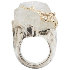 Melting Ice Cap Crystal Quartz Sterling Silver 18k Gold & Diamonds Cocktail Ring