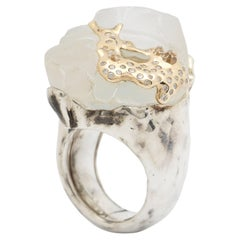 18K White Gold Quartz Enamel Diamond Melting Ice Cap Cocktail Ring