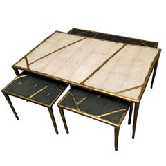 Melting Nesting Coffee Tables in Shagreen, Shell and Brass by R & Y Augousti