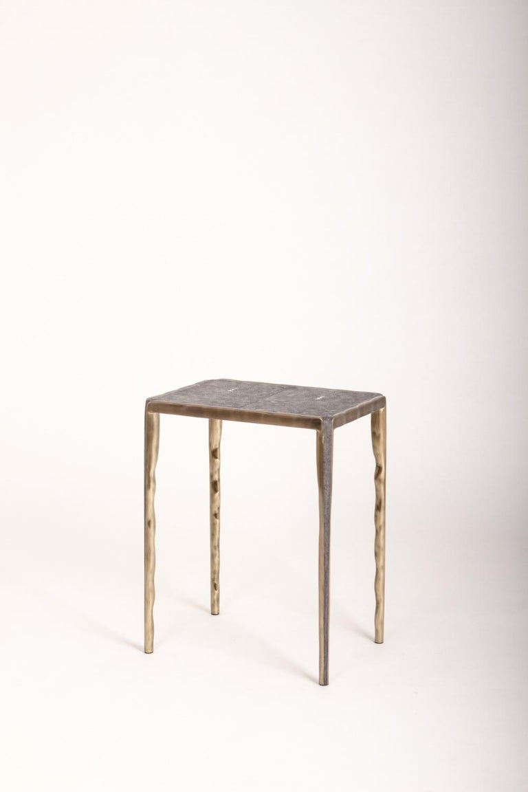 Hand-Crafted Melting Nesting Side Table Set of 3 in Shagreen, Shell and Brass by R&Y Augousti For Sale