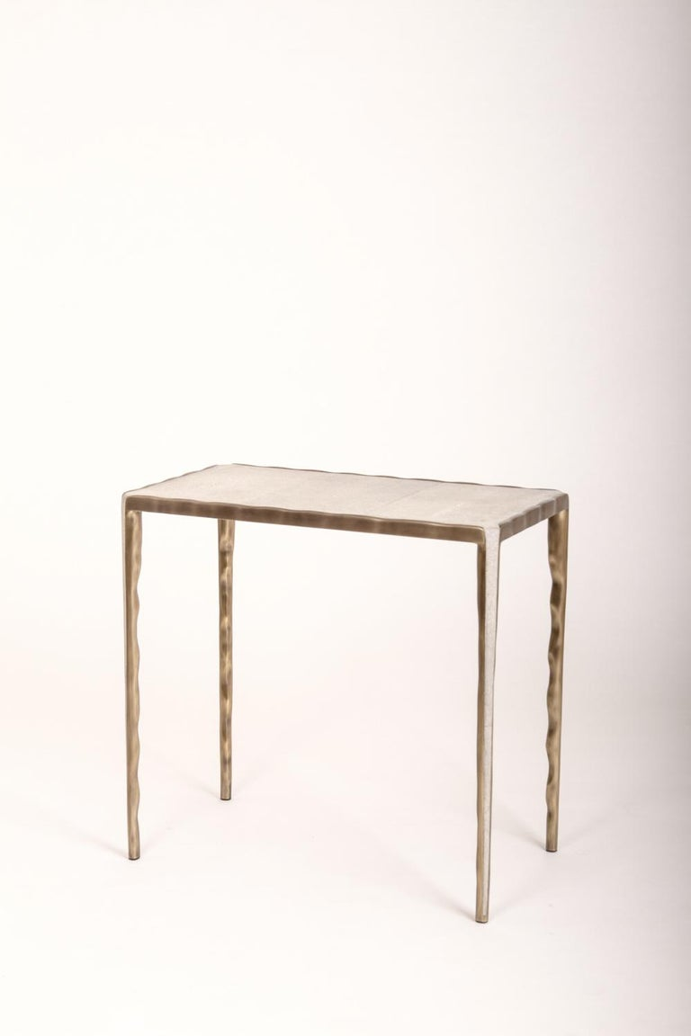 French Melting Nesting Side Table Set of 3 in Shagreen, Shell and Brass by R&Y Augousti For Sale