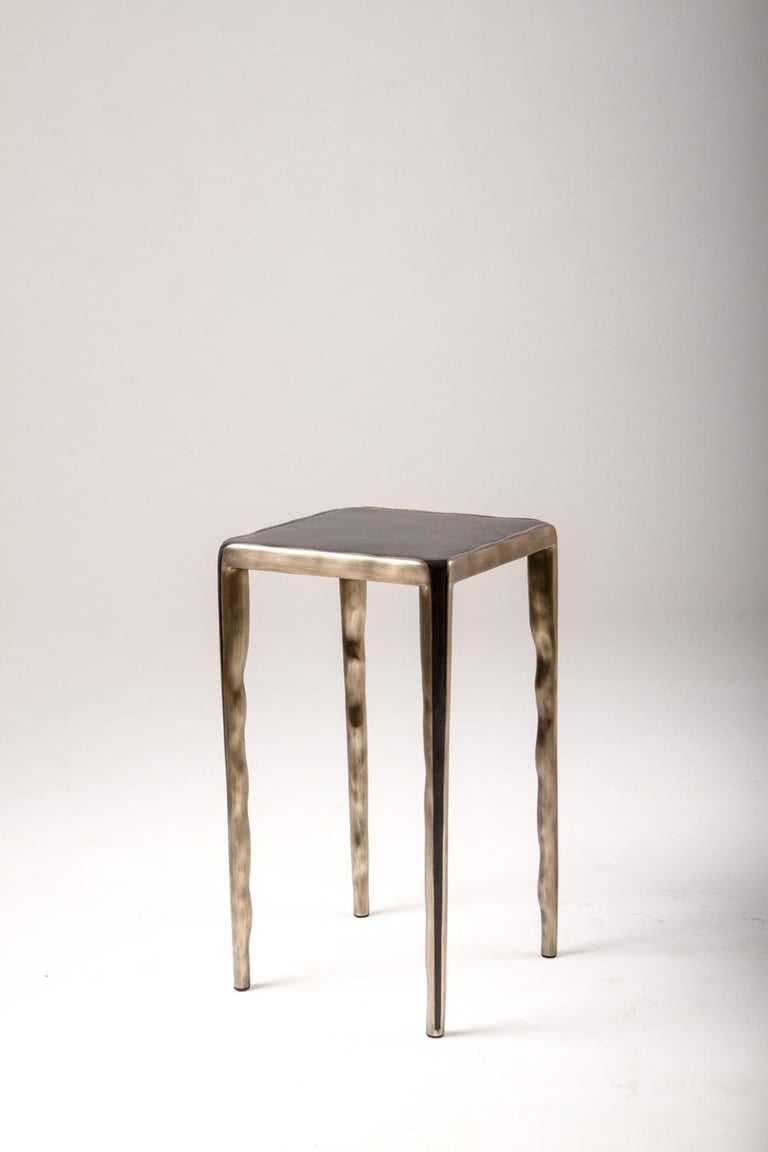 Melting Nesting Side Table Set of 3 in Shagreen, Shell and Brass by R&Y Augousti In New Condition For Sale In New York, NY