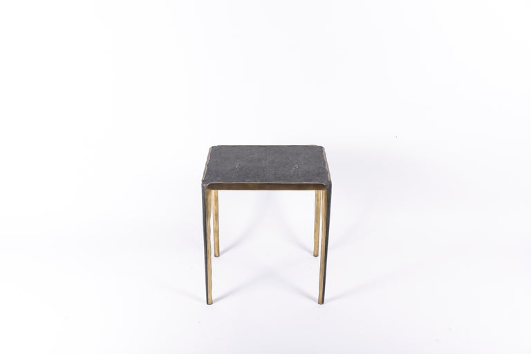 Melting Nesting Side Table Set of 3 in Shagreen Lemurian & Brass by R&Y Augousti For Sale 2