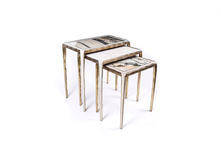 Melting Nesting Side Table Set of 3 in Shagreen Lemurian & Brass by R&Y Augousti For Sale 4