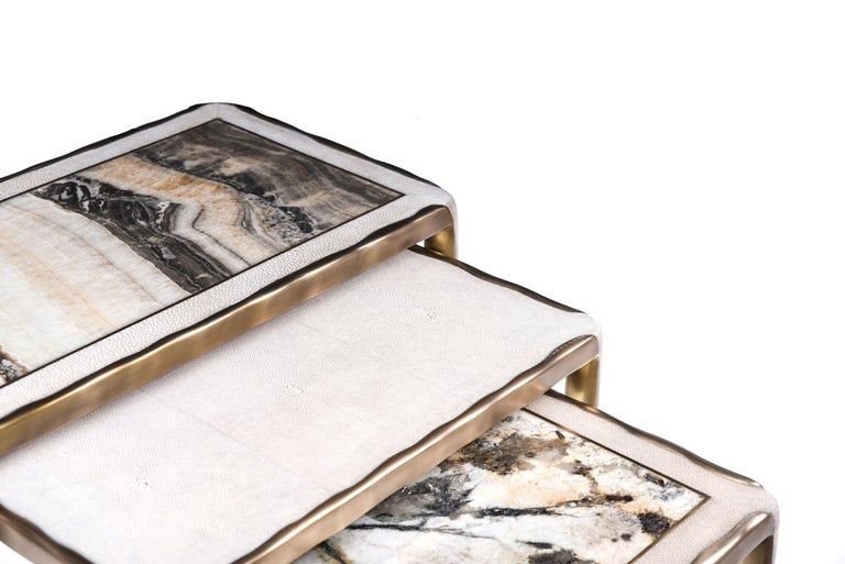 Melting Nesting Side Table Set of 3 in Shagreen Lemurian & Brass by R&Y Augousti For Sale 5