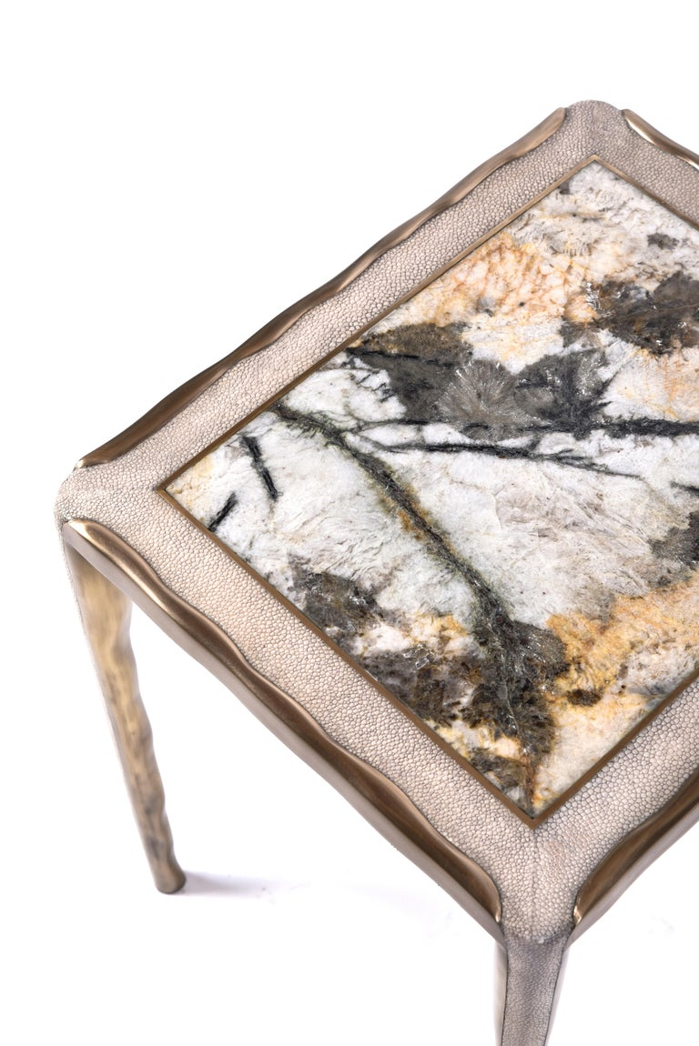Melting Nesting Side Table Set of 3 in Shagreen Lemurian & Brass by R&Y Augousti For Sale 6