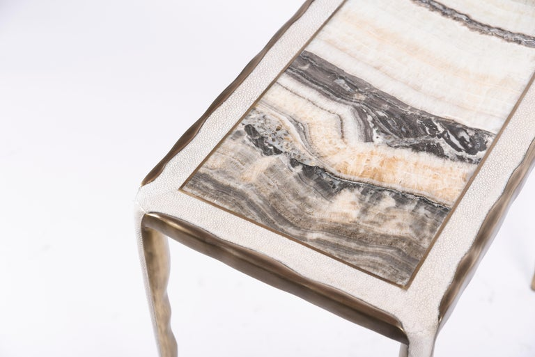 Melting Nesting Side Table Set of 3 in Shagreen Lemurian & Brass by R&Y Augousti For Sale 7