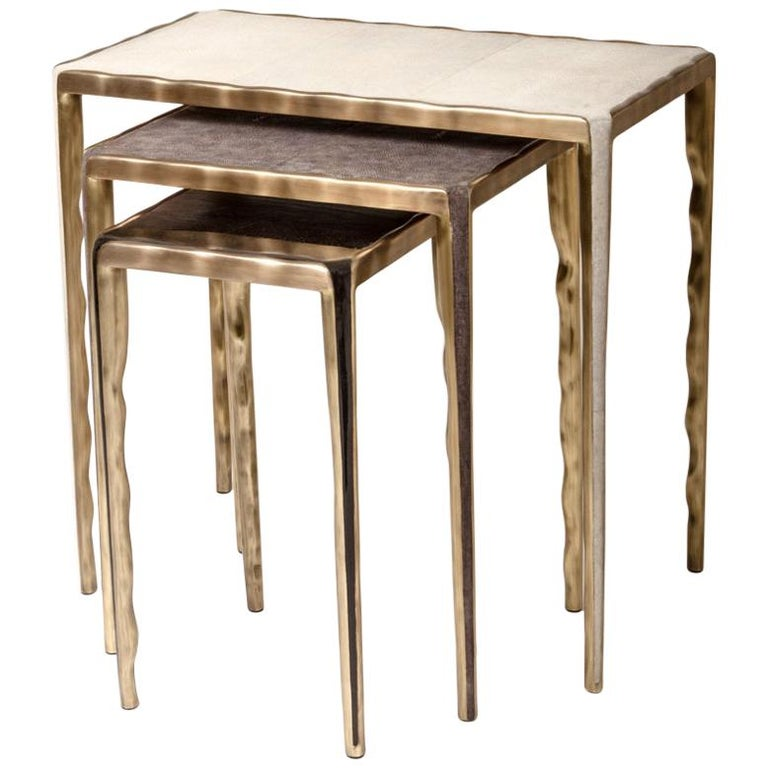 Melting Nesting Side Table Set of 3 in Shagreen Lemurian & Brass by R&Y Augousti For Sale 8
