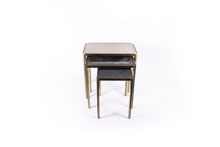 Hand-Crafted Melting Nesting Side Table Set of 3 in Shagreen Lemurian & Brass by R&Y Augousti For Sale