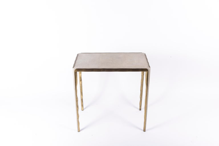Melting Nesting Side Table Set of 3 in Shagreen Lemurian & Brass by R&Y Augousti In New Condition For Sale In New York, NY