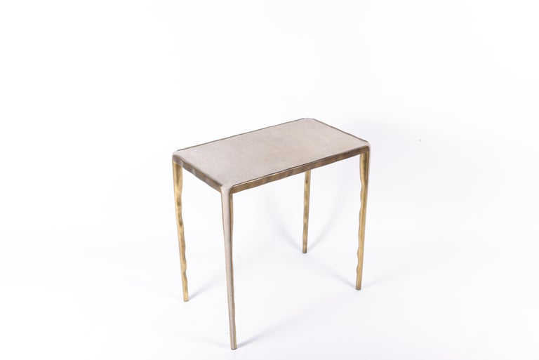 Contemporary Melting Nesting Side Table Set of 3 in Shagreen Lemurian & Brass by R&Y Augousti For Sale