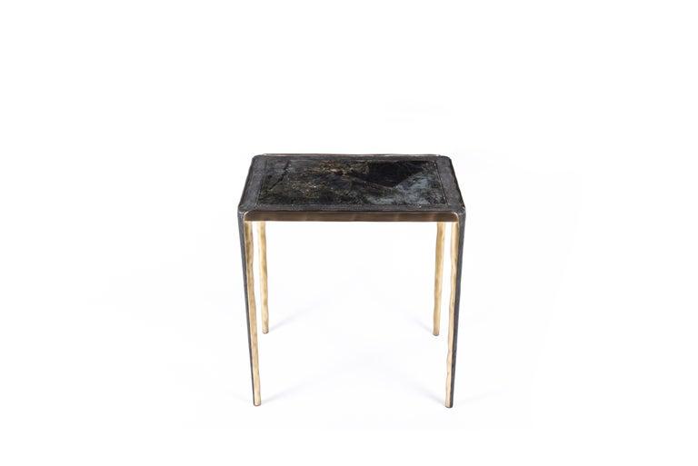 Shagreen Stingray Melting Nesting Side Table Set of 3 in Shagreen Lemurian & Brass by R&Y Augousti For Sale