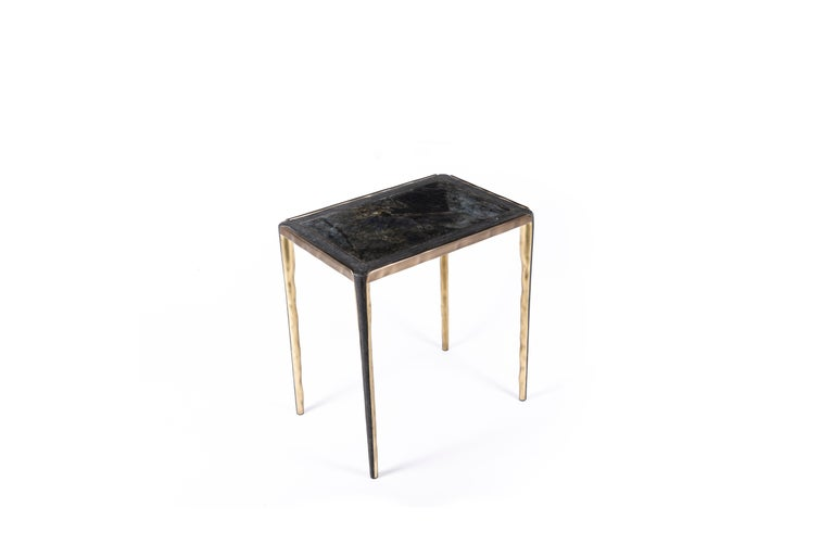 Melting Nesting Side Table Set of 3 in Shagreen Lemurian & Brass by R&Y Augousti For Sale 1