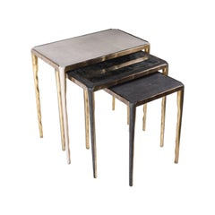 Melting Nesting Side Table Set of 3 in Shagreen Lemurian & Brass by R&Y Augousti