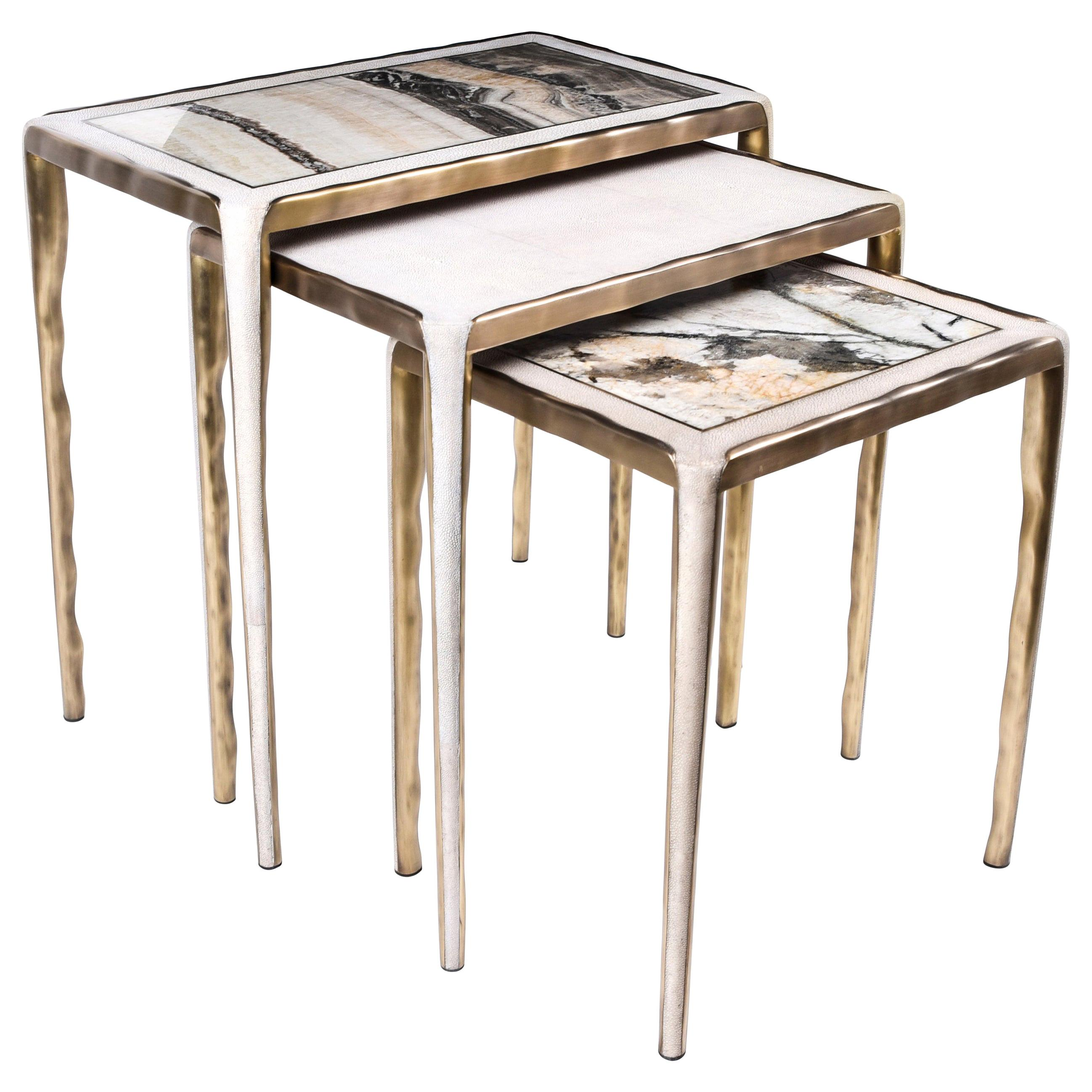 Melting Nesting Side Table Set of 3 in Shagreen, Onyx and Brass by R&Y Augousti