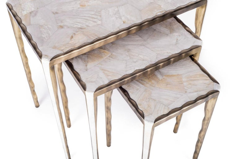 Melting Nesting Side Table Set of 3 in Shagreen, Shell and Brass by R&Y Augousti For Sale 1