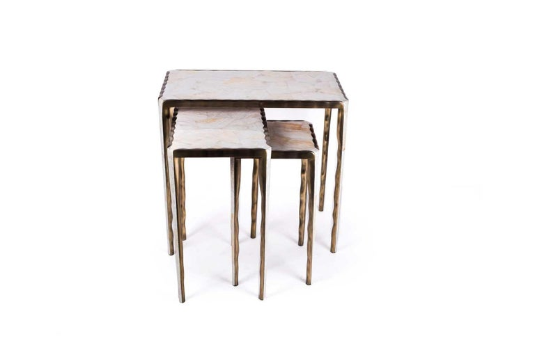 Melting Nesting Side Table Set of 3 in Shagreen, Shell and Brass by R&Y Augousti For Sale 2