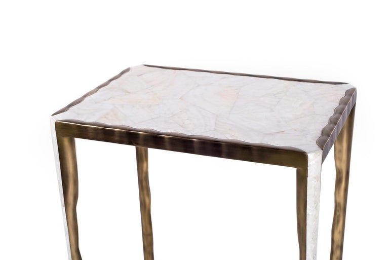 Melting Nesting Side Table Set of 3 in Shagreen, Shell and Brass by R&Y Augousti For Sale 3