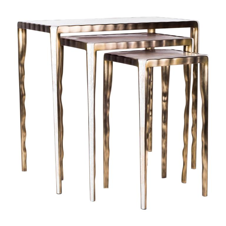 Contemporary Melting Nesting Side Table Set of 3 in Shagreen, Shell and Brass by R&Y Augousti For Sale