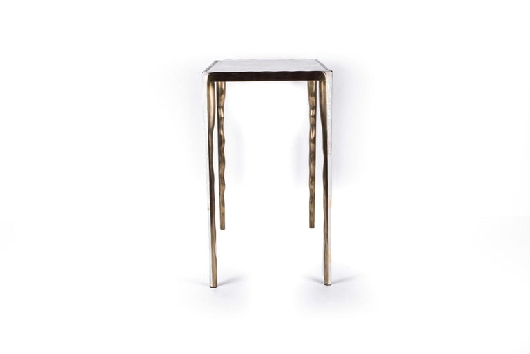 Art Deco Melting Nesting Table L in Mother of Pearl & Bronze-Patina Brass by R&Y Augousti For Sale