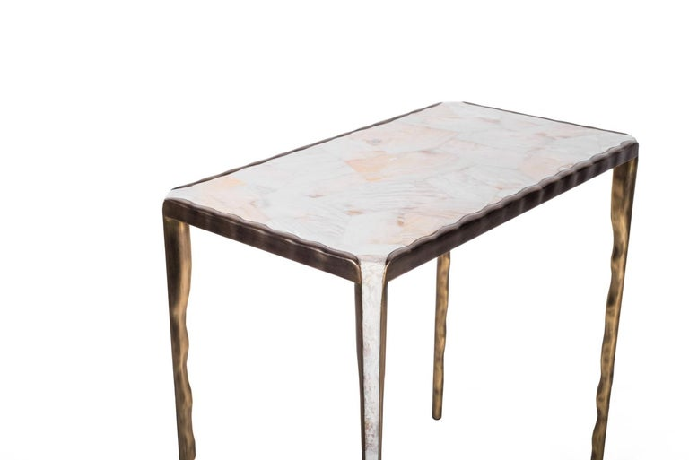French Melting Nesting Table L in Mother of Pearl & Bronze-Patina Brass by R&Y Augousti For Sale
