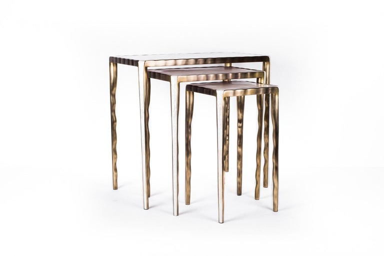 Hand-Crafted Melting Nesting Table L in Mother of Pearl & Bronze-Patina Brass by R&Y Augousti For Sale