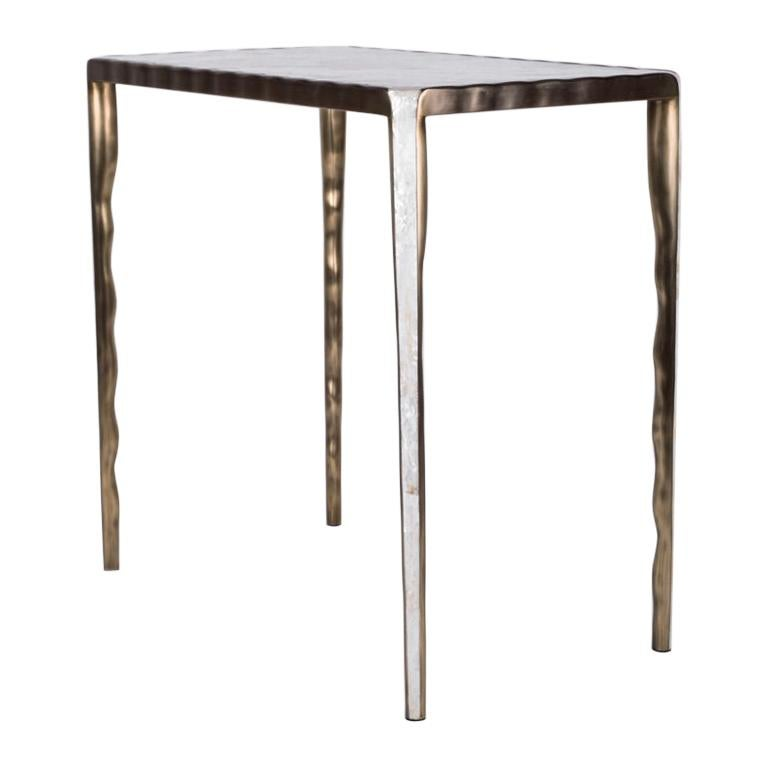 Melting Nesting Table L in Mother of Pearl & Bronze-Patina Brass by R&Y Augousti For Sale
