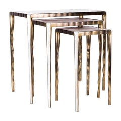 Melting Nesting Table M in Mother of Pearl & Bronze-Patina Brass by R&Y Augousti
