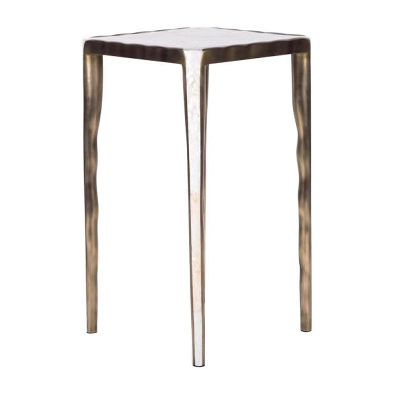 Melting Nesting Table S in Mother of Pearl & Bronze-Patina Brass by R&Y Augousti