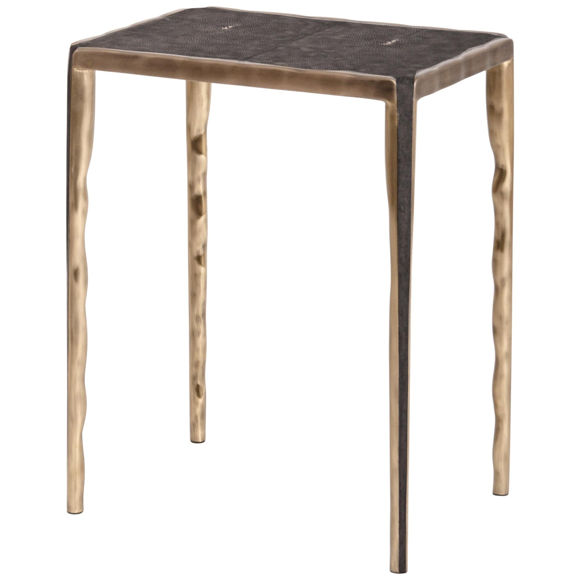 Melting Shagreen Side Table with Bronze-Patina Brass Details by R&Y Augousti
