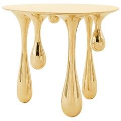Melting Side Table Polished Brass by Zhipeng Tan