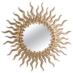Melting Sun Mirror with Gold Paint