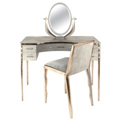 Melting Vanity Table in Cream Shagreen and Bronze-Patina Brass by R & Y Augousti