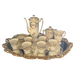 Lovely Floral Fine China Tea Set for Six with Floral Brass Tray by Melton