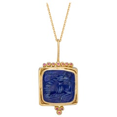 Melusine Pendant, 18 Karat Yellow Gold and Pink Diamond