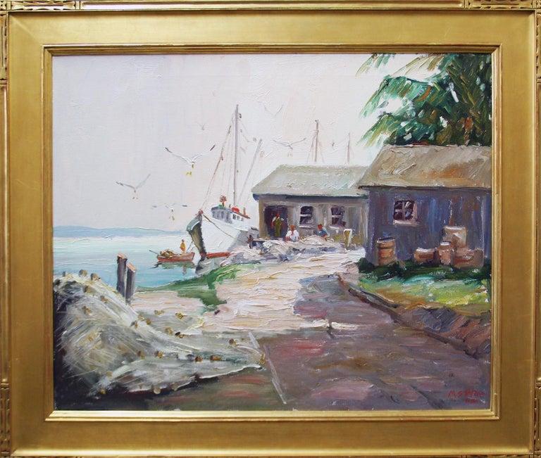 "Melville F. Stark Landscape Painting - Melville Stark, ""Bells Fish House"", Long Boat Key, Florida, Oil on Canvas"