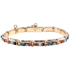 Melvin Francis Navajo 14K Yellow Gold, Coral, Turquoise, MOP, Onyx Link Bracelet