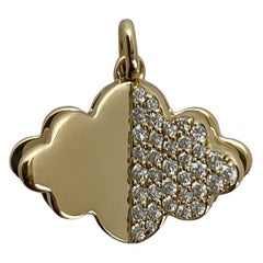 Memento Half Gold, Half Diamond Cloud with Pages Charm Pendant