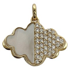 Memento Half Mother of Pearl, Half Diamond Cloud with Pages Charm Pendant
