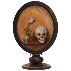 Memento Mori, Oil on Agate, Germany Beginning, 18th Century