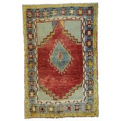 Memphis Design Stil Vintage Türkischer Oushak Teppich, Küche, Foyer oder Eingang Teppich